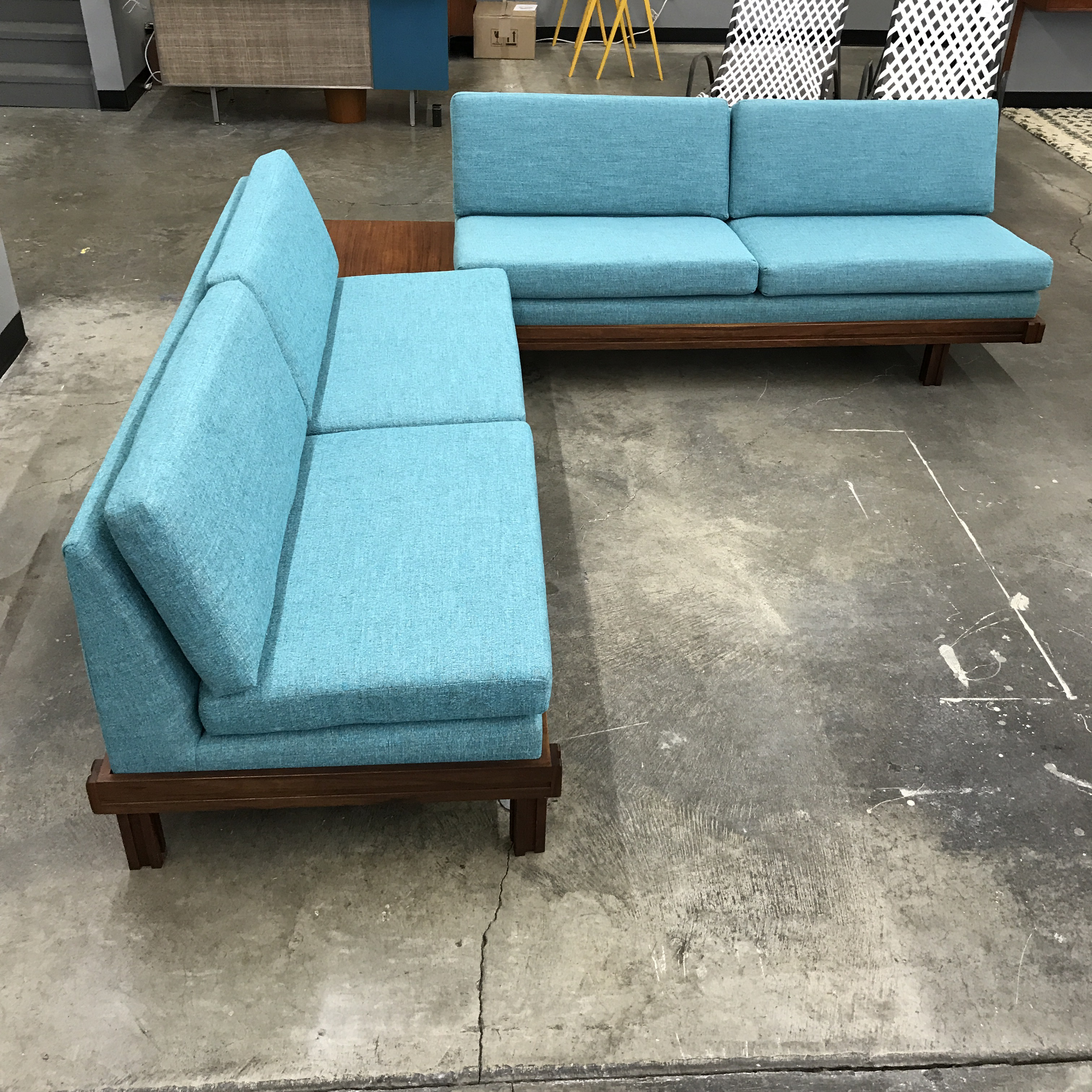 Martin Borenstein Newly Upholstered Tiffany Blue Tweed Sofas   A Pair    Image 2 Of 11