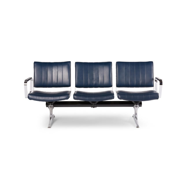 This is the Chromcraft Original Navy Vinyl 3 Seat Airport Bench. These seats provided comfort to flyers in Portland...