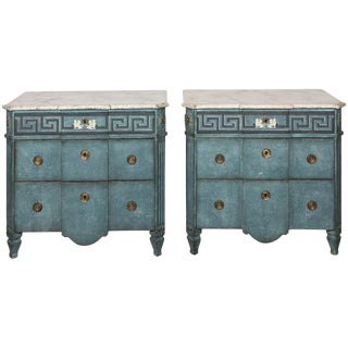 Pair of Blue Painted Gustavian Commodes For Sale