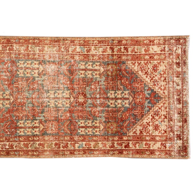 "1910s Apadana-Antique Persian Distressed Rug, 3'4"" X 13'7"" For Sale - Image 5 of 11"