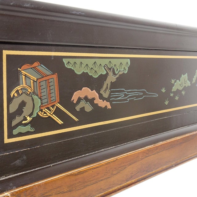 Gorgeous Drexel Heritage Chippendale side table with detailed hand painted chinoiserie scenes to table top and all four...