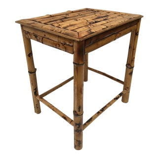 Vintage Scorched Bamboo Chinoiserie Side Table