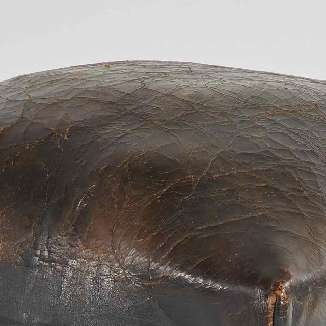 Late 19th Century French Dark Brown Leather Upholstered Wood Stool For Sale - Image 4 of 5