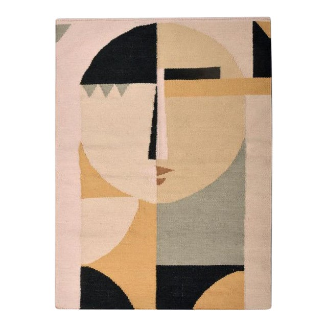 Textile Custom Flat Weave Abstract Female Figure Rug - 3′ × 3′10″ For Sale - Image 7 of 8