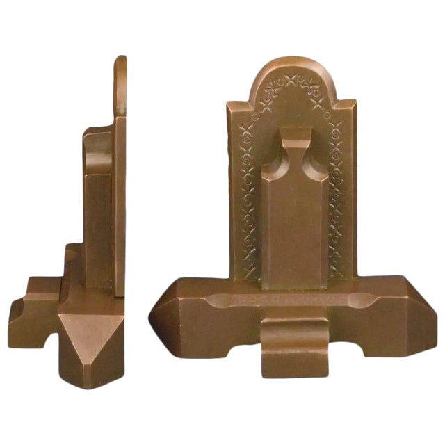 Bronze Craftsman Book Ends For Sale