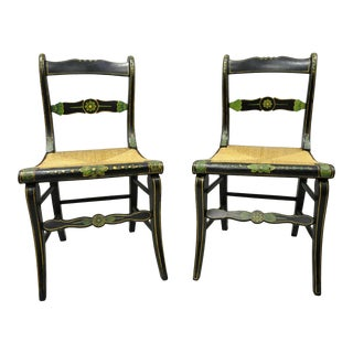 19th Century Antique Hitchcock Style Black Hand Painted Rush Seat Side Chairs - a Pair For Sale
