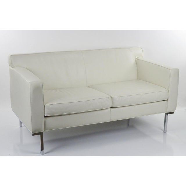 Off White Leather Two Seat Sofa by DWR - Image 2 of 9