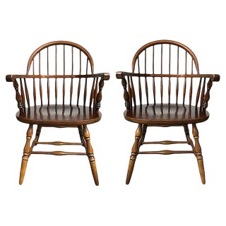 Windsor Style Armchairs, Pair For Sale