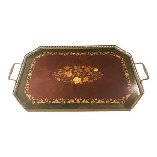 1970s Italian Marquetry Wood and Brass Serving Tray For Sale