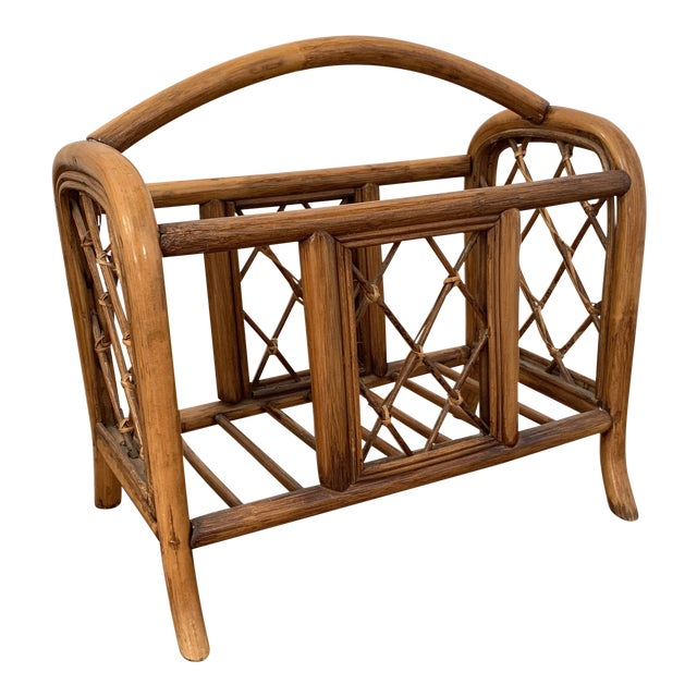 Vintage Pencil Reed and Rattan Bamboo Magazine Book Holder For Sale