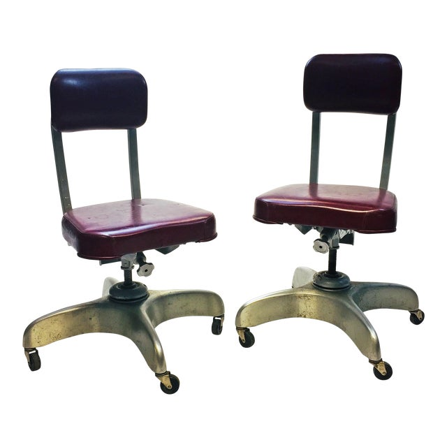 Vintage Industrial Swivel Office Chairs by Emeco - A Pair - Image 1 of 13