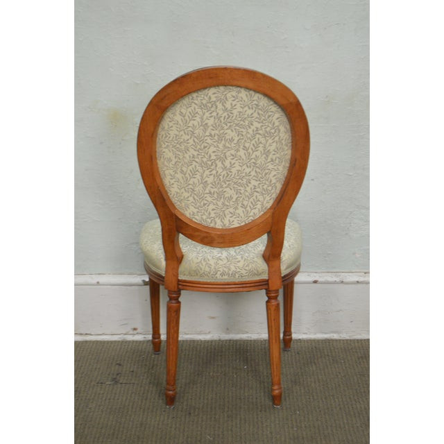 Textile Statesville Chair Co. Set of 10 Walnut Frame French Louis XV Style Dining Chairs For Sale - Image 7 of 10