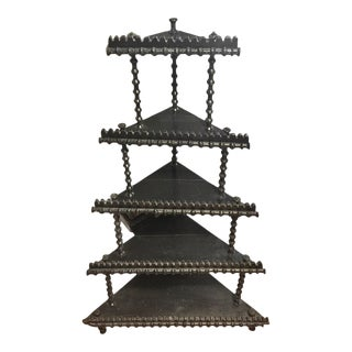 Antique Tramp Art Corner Etagere For Sale