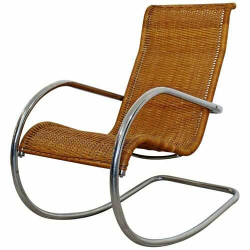 Mid Century Modern Italian Rattan Tubular Chrome Rocker Rocking Chair Italy 70s For Sale - Image 12 of 12