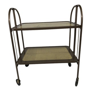 Vintage Mid Century Folding Metal Rolling Cart by Versa-Table For Sale