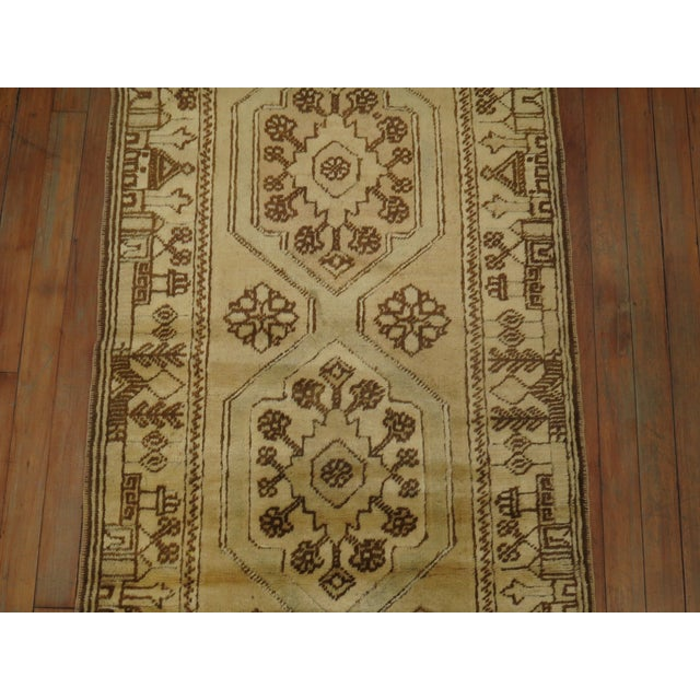 Folk Art Creamy Yellow Vintage Turkish Runner, 2'5'' X 9'7'' For Sale - Image 3 of 7