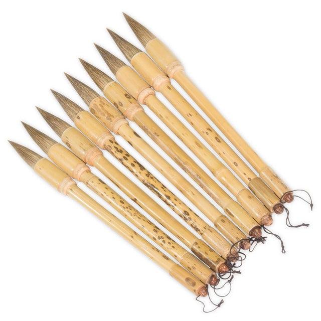 Sarreid Ltd Vintage Bamboo Calligraphy Brushes Set Of 9