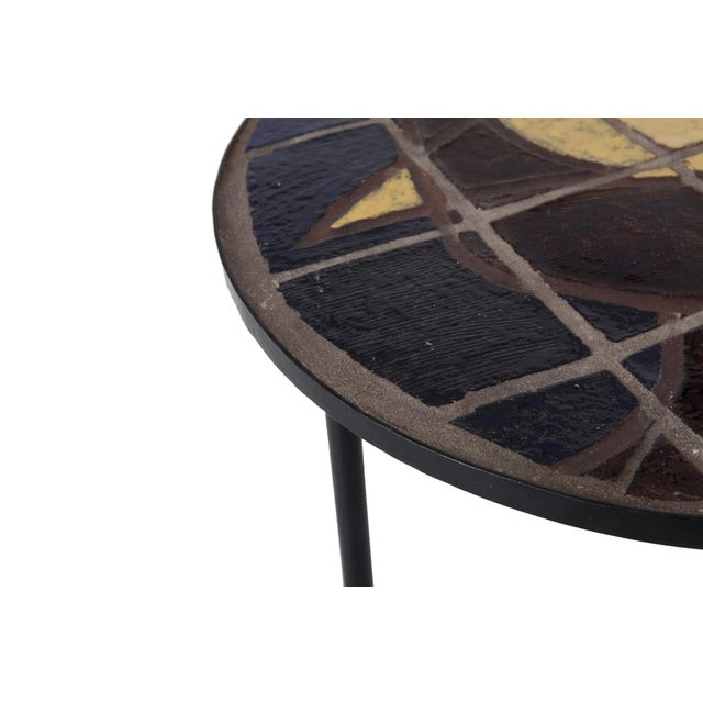 1950s Mid-Century Coffee Table With Black Steel Frame & Mosaic Inlay For Sale - Image 5 of 7