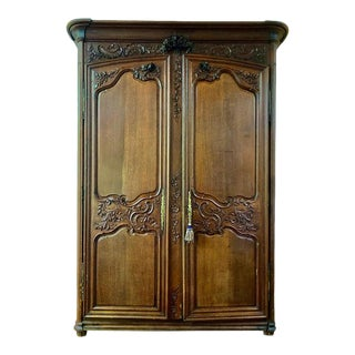 18th Century Louis XV French Provincial Carved Armoire For Sale