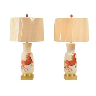Fantastic Pair of Hand-Painted Italian Ceramic Lamps by Marbro, Circa 1955