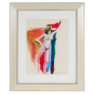 Alysanne McGaffey Colorful Nude Figure With Hat, Distemper and Pastel Drawing on Paper, 1950s-60s 1950-1960s For Sale
