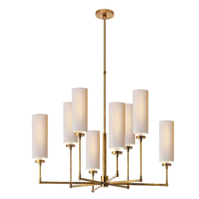 2010s Large Hand Rubbed Antique Brass Chandelier by Thomas O'Brian For Sale - Image 5 of 5