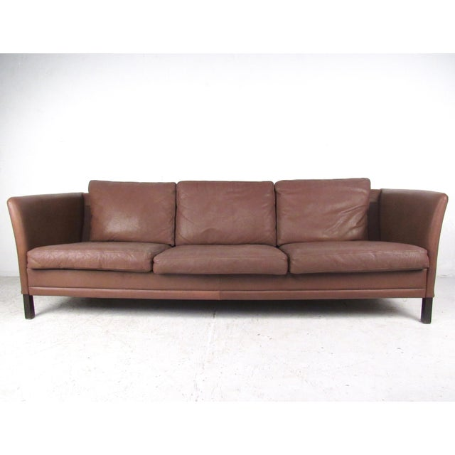 Leather Sofas For Sale In Northern Ireland: Dunflex Scandinavian Modern Leather Sofa