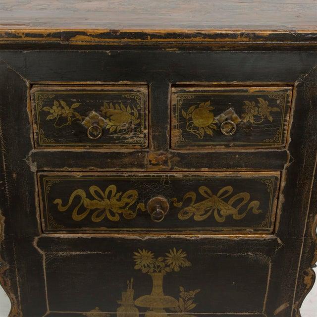 Antique Black Gansu 3 Drawer Small Cabinet For Sale - Image 4 of 4