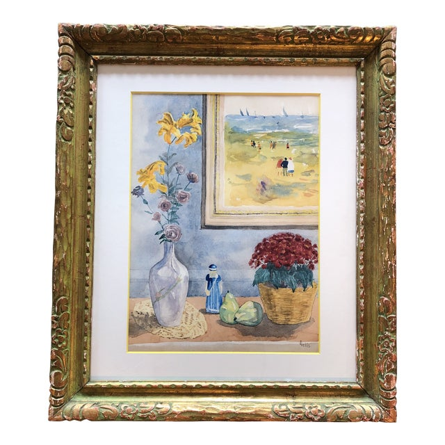 Mid Century Original Still Life/Interior Watercolor For Sale
