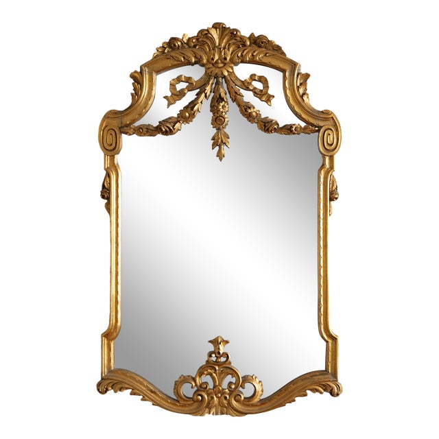 19th Century French Louis XVI Style Carved Gilt Classical Mirror For Sale
