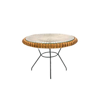 Mid-Century Rattan Side Table on Painted Black Metal Tripod Base For Sale