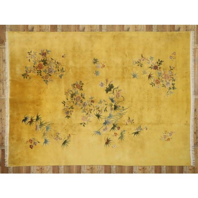 Saffron Citrine & Saffron Antique Chinese Art Deco Rug - 10'08 X 14'06 For Sale - Image 8 of 10