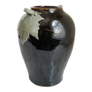 1990s Art Nouveau Pottery Vase With Frog Detail For Sale