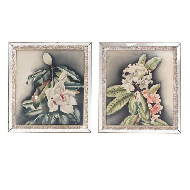 Vintage Mirror Framed Floral Paintings For Sale