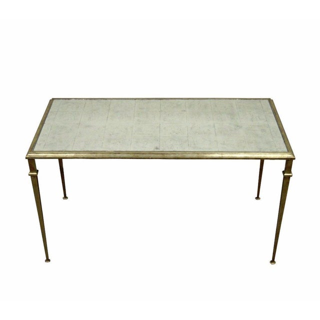 Neoclassical Style Gilt Metal Silver Leaf Mirror Top Coffee Table - Image 11 of 11