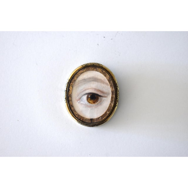 Contemporary Lover's Eye Painting by S. Carson in a Victorian Brooch For Sale - Image 4 of 9