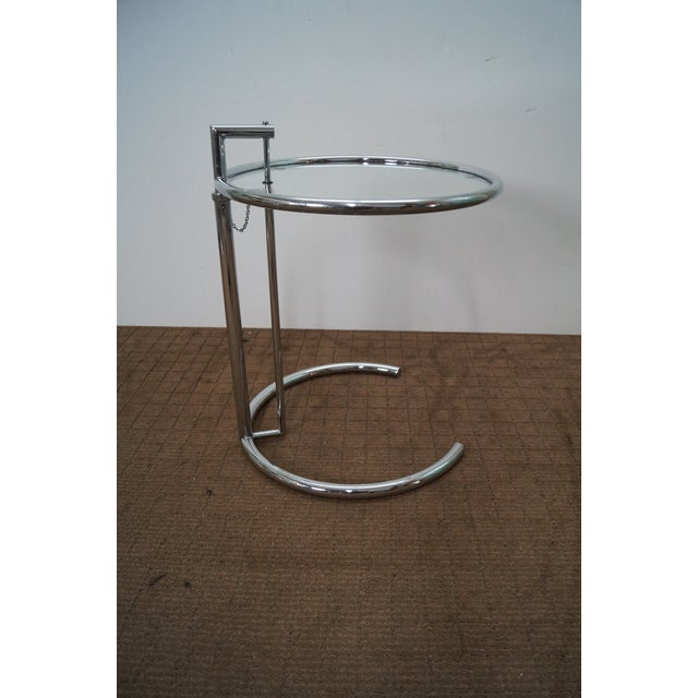 Eileen Gray Adjustable Chrome & Glass Side Table - Image 4 of 10