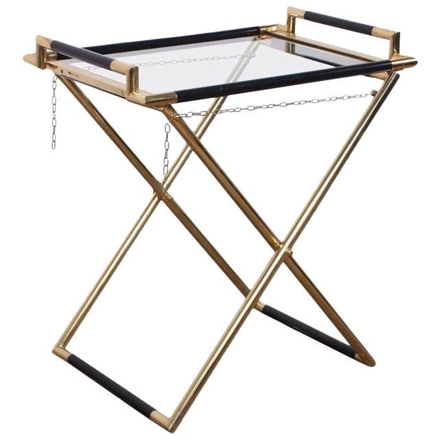 Italian Folding Tray Table in Brass For Sale