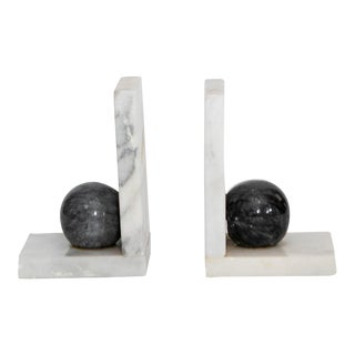 Italian Marble Black & White Bookends- a Pair For Sale