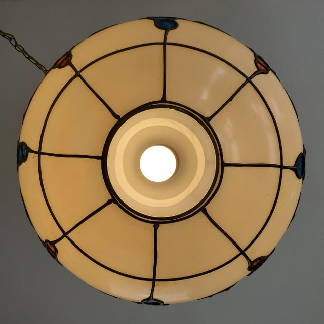White Mid-Century Ceiling Swag Lamp Hand Painted Glass Metal Overlay White Grape Leaves For Sale - Image 8 of 11