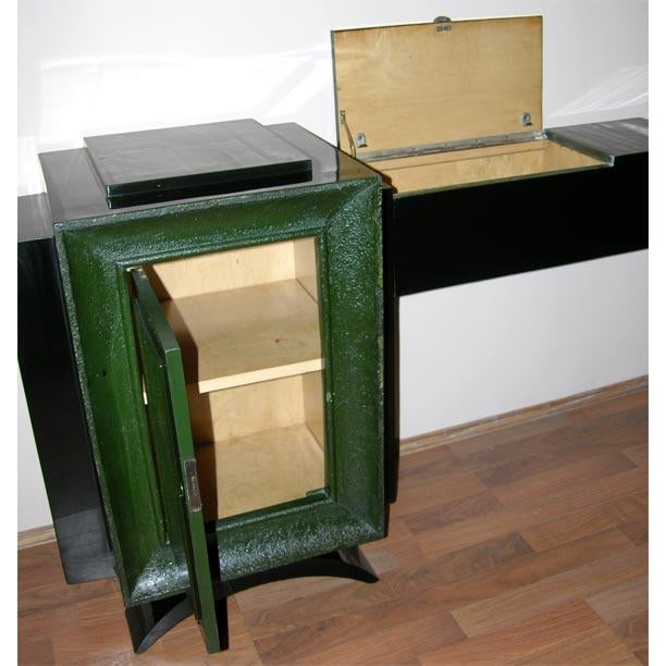 Wood French Art Deco Low Cabinet by René Drouet and Gaston Suisse For Sale - Image 7 of 8