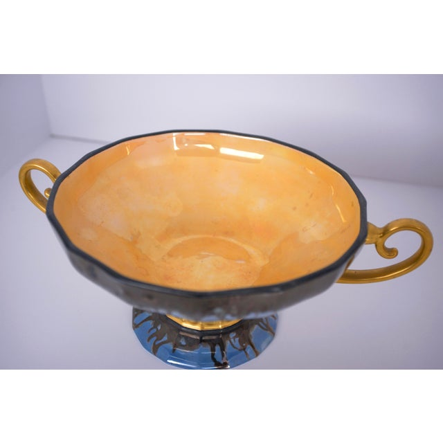 Contemporary 20th Century Contemporary Glazed Blue and Gold Ceramic Footed Bowl For Sale - Image 3 of 4