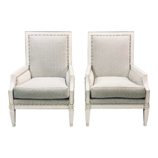 ContemporaryDrexel White Wood Accent Chair s - a Pair For Sale