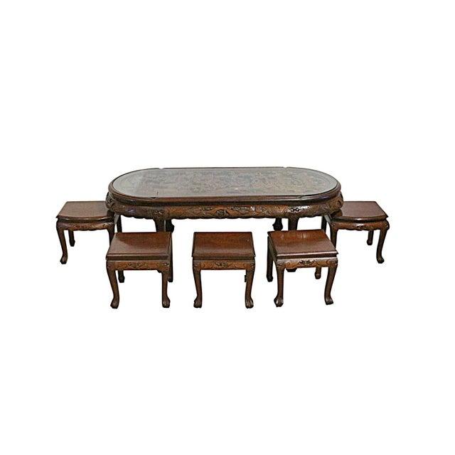Vintage Chinese Tea Table & Stools - Image 1 of 5