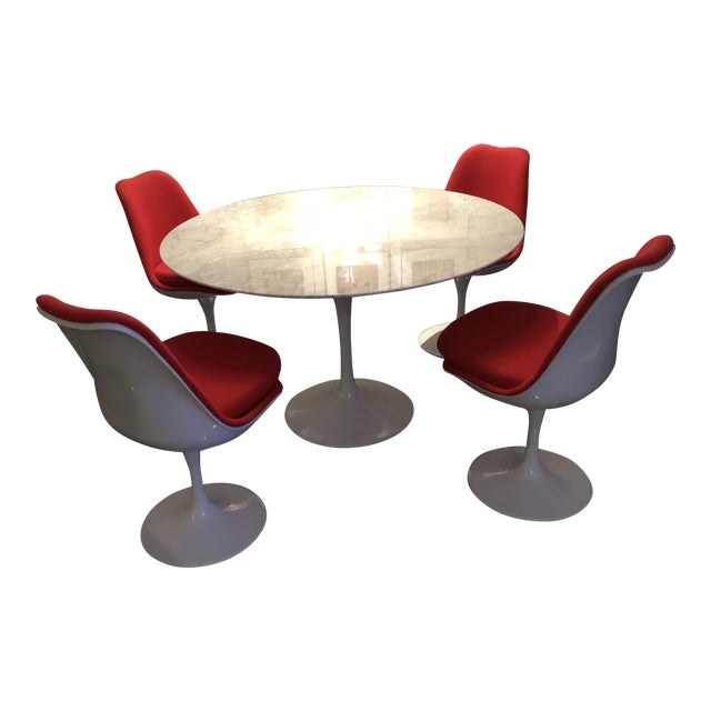 Reproduction Saarinen Tulip Table Chairs Dining Set Chairish - Tulip table and chairs reproduction