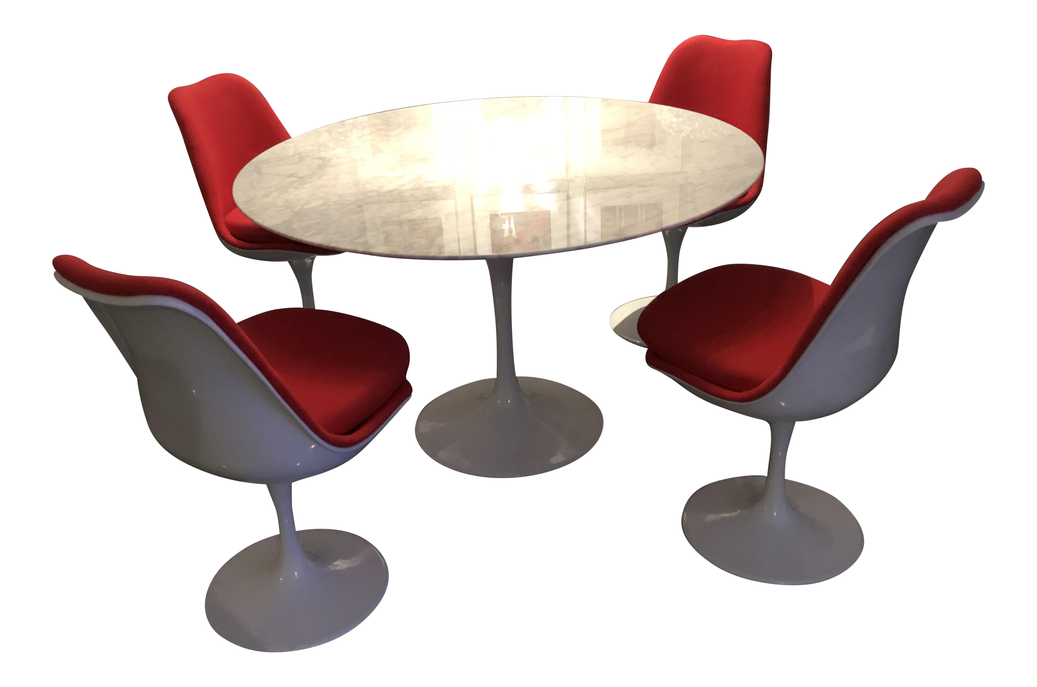 Reproduction Saarinen Tulip Table/4 Chairs Dining Set   Image 1 Of 11