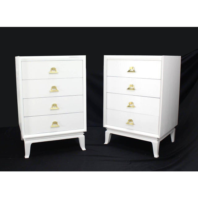 Mid-Century Modern White Lacquer Brass Pulls High Chest Stands - a Pair For Sale - Image 9 of 10