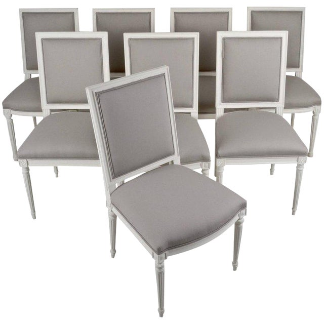 Louis XVI-Style Dining Chairs - Set of 8 - Image 1 of 8