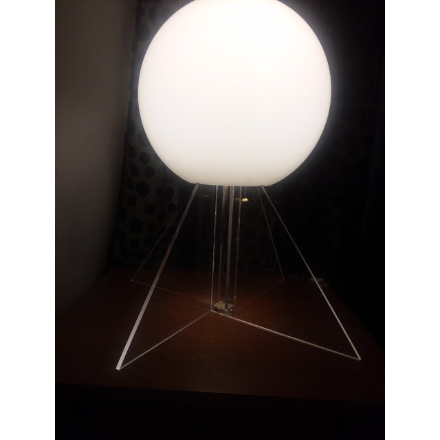 White Mid Century Plexi Globe Table/Floor Lamp For Sale - Image 8 of 10