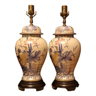 Wildwood Hand Painted Ginger Jar Lamps - a Pair For Sale